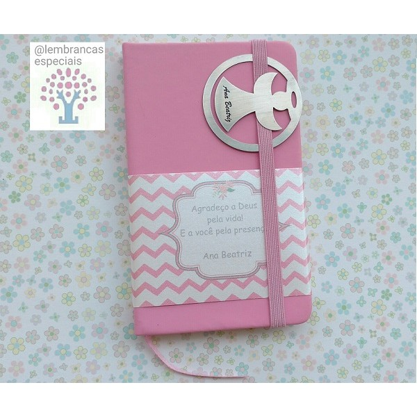 Caderneta Capa Dura Personalizado com Marcador de Páginas Anjo